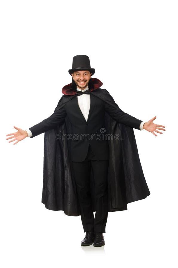 O mágico do homem isolado no branco imagens de stock