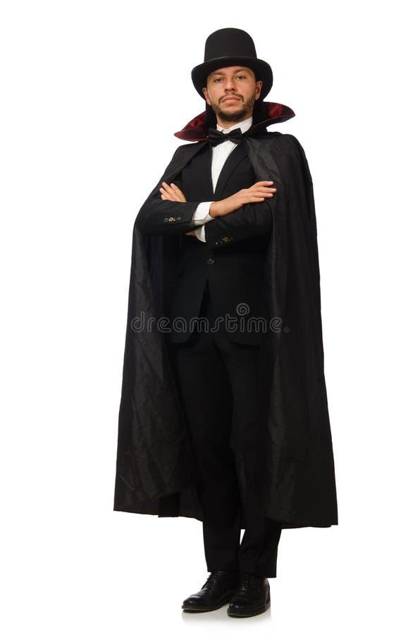 O mágico do homem no branco imagens de stock royalty free