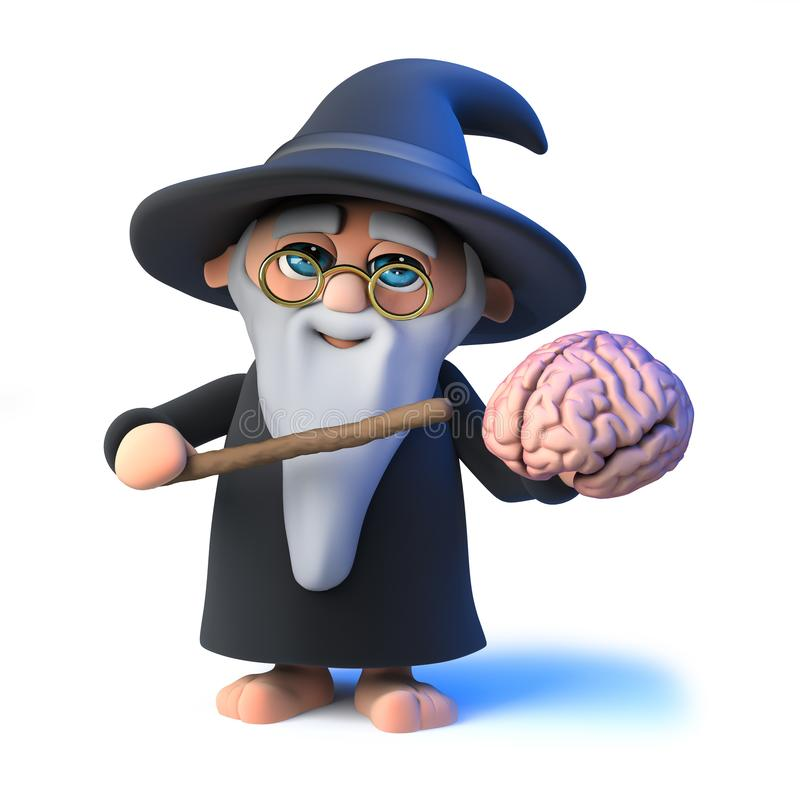 o mágico engraçado do feiticeiro dos desenhos animados 3d aponta a um cérebro humano com sua varinha mágica ilustração do vetor