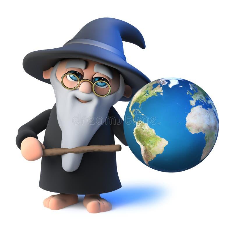 o mágico engraçado do feiticeiro dos desenhos animados 3d aponta a um globo da terra com sua varinha mágica ilustração stock
