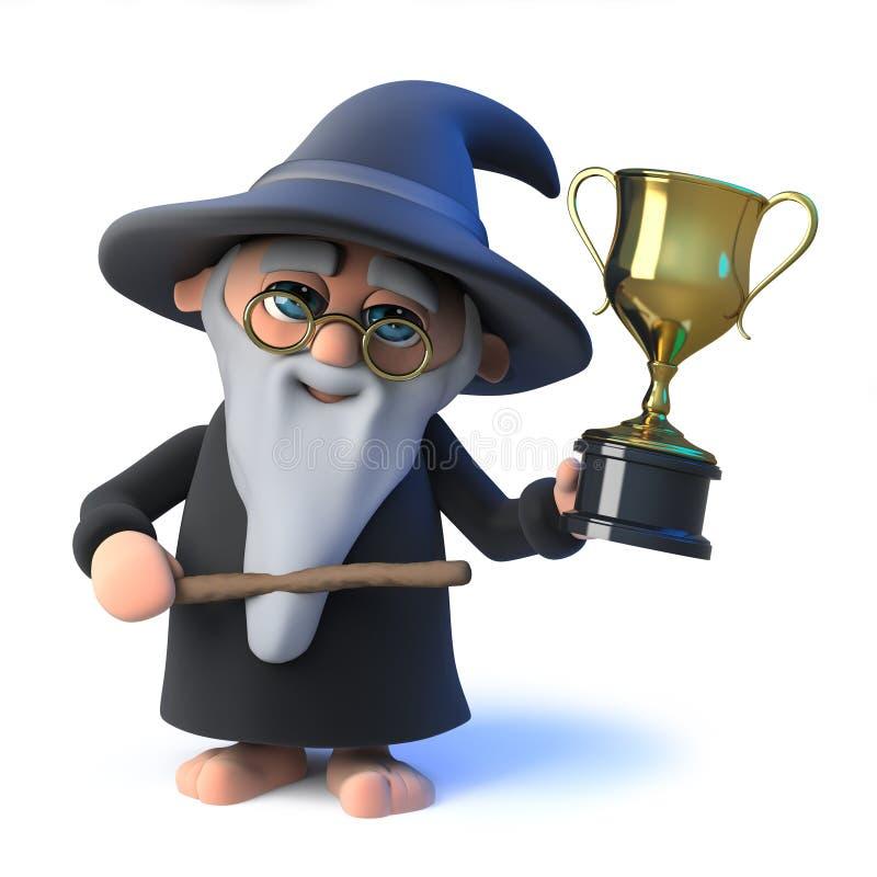 o mágico engraçado do feiticeiro dos desenhos animados 3d ganhou o troféu do ouro do sucesso ilustração royalty free