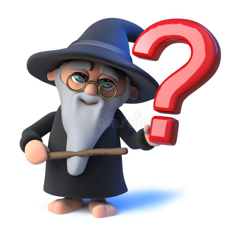 O mágico engraçado do feiticeiro dos desenhos animados do vetor 3d acena sua varinha em um ponto de interrogação ilustração stock