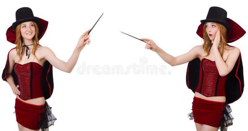 O mágico fêmea isolado no branco fotos de stock royalty free