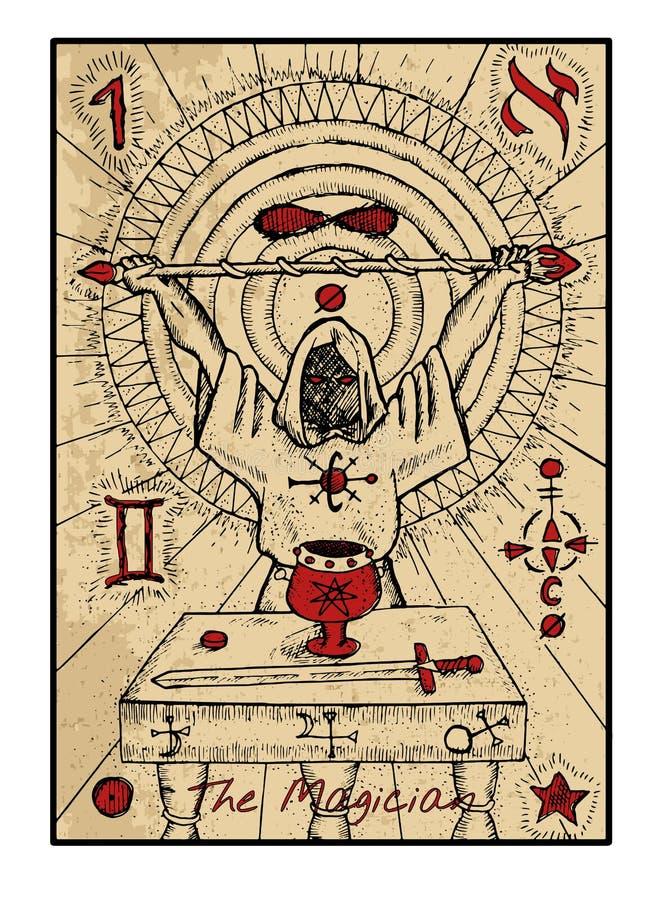 O mágico O cartão de tarô ilustração stock