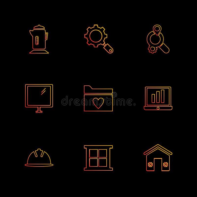 o móbil, computador, tecnologia, chamadas, casa, ícones do eps ajustou a VE ilustração do vetor