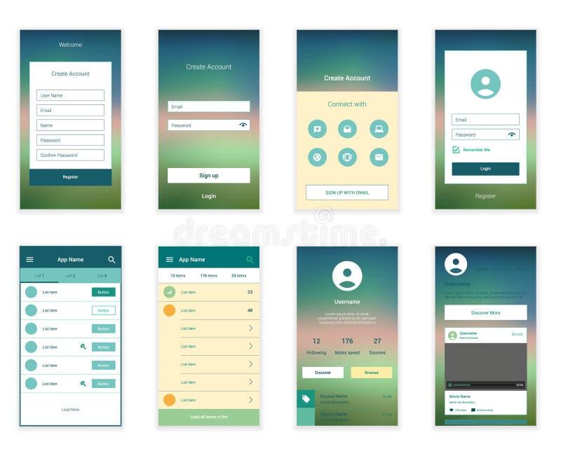 O móbil seleciona o jogo da interface de utilizador Usuário moderno ilustração do vetor