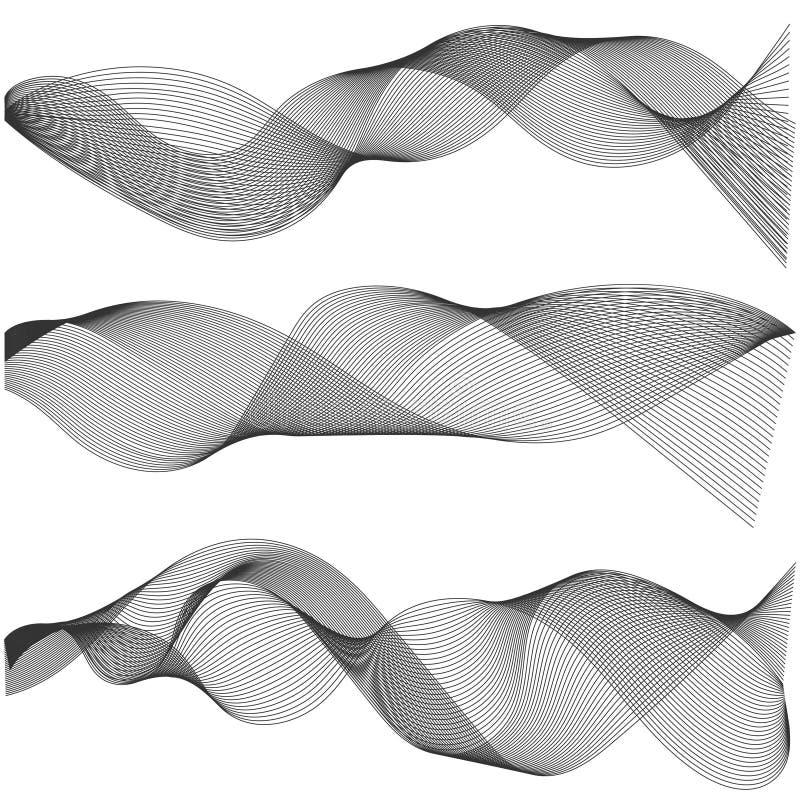 O múltiplo acena listras onduladas abstratas, elementos do projeto criados usando a ferramenta da mistura, Vector a linha arte cr ilustração do vetor