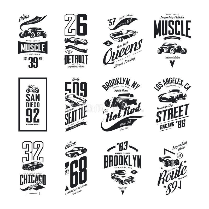 O músculo do vintage, a barata, o hot rod e o logotipo clássico do t-shirt do vetor do carro isolaram o grupo ilustração do vetor