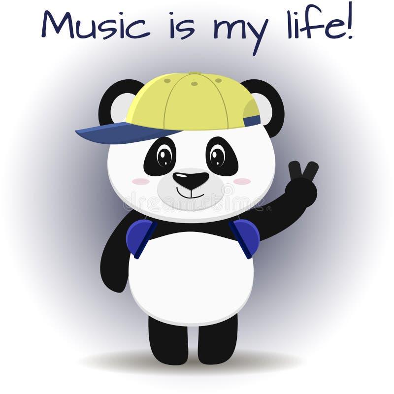 O músico da panda no boné de beisebol e nos fones de ouvido está com uma mão levantada, ao estilo dos desenhos animados ilustração do vetor
