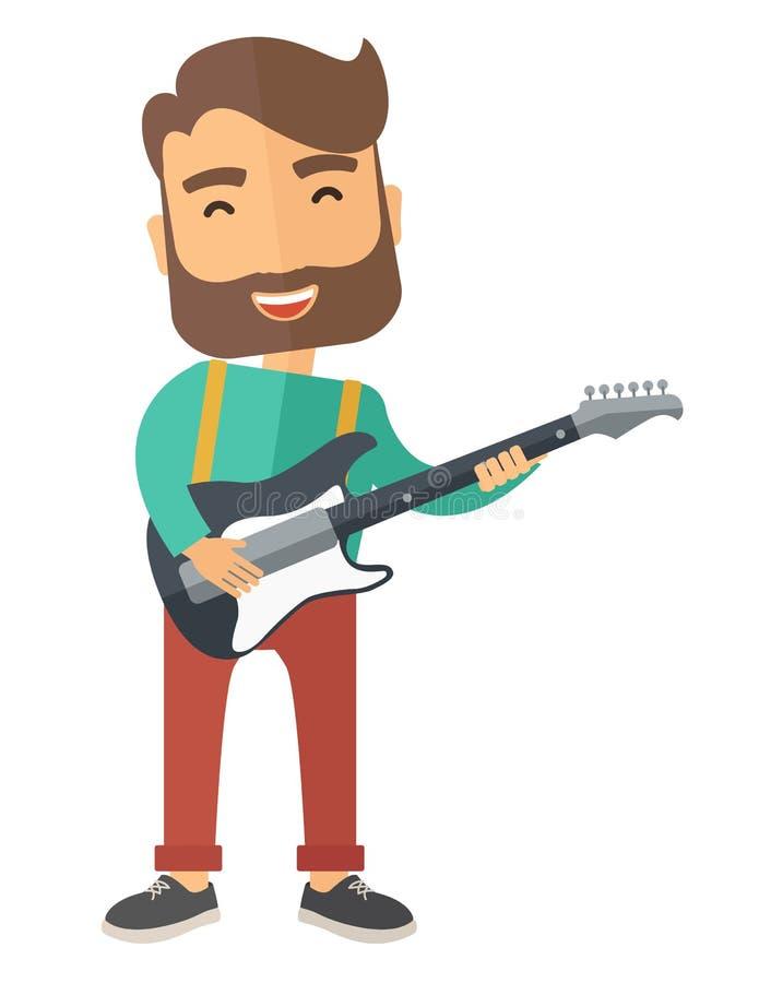 O músico está jogando a guitarra elétrica ilustração do vetor