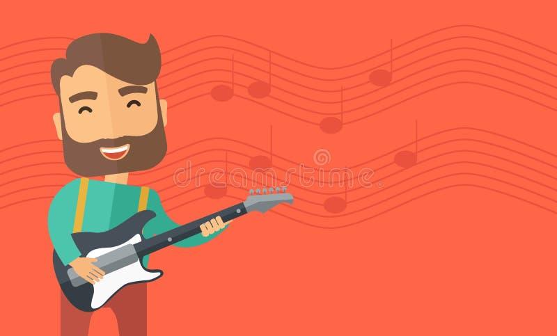O músico está jogando a guitarra elétrica ilustração stock