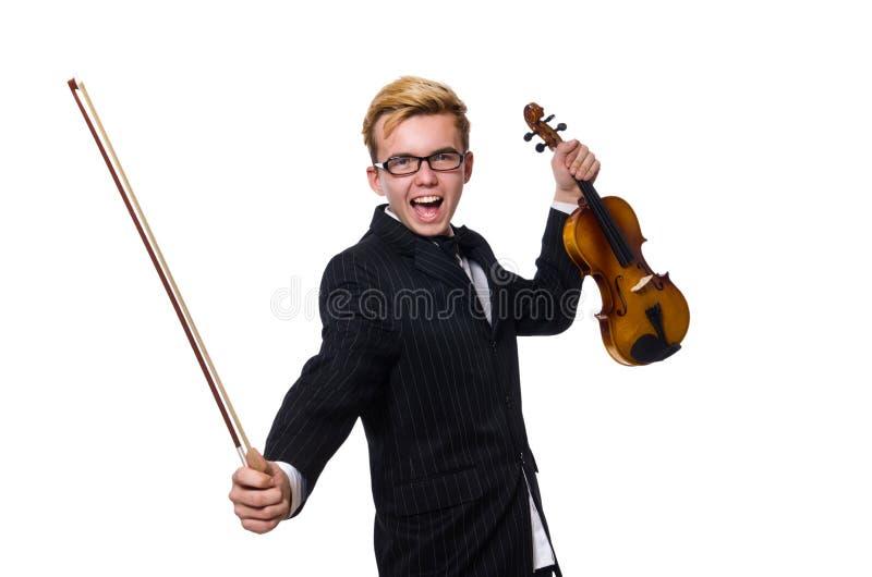 O músico novo com o violino isolado no branco fotografia de stock royalty free