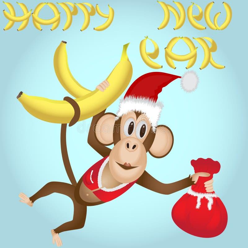 O macaco com bananas em uns anos novos veste-se com um saco dos presentes ilustração stock