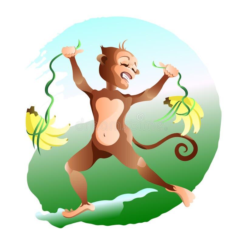 O macaco do orgulho é muitas bananas ilustração do vetor
