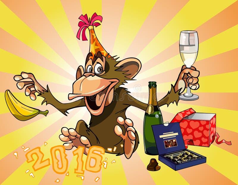 O macaco engraçado dos desenhos animados comemora 2016 ilustração do vetor