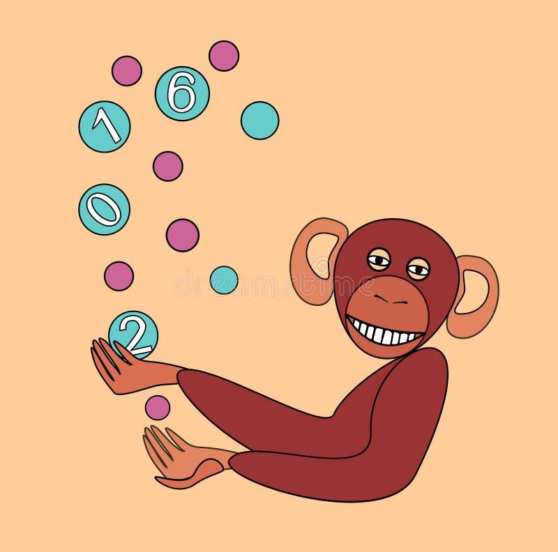 O macaco manipula bolas coloridas Comemora o ano novo ilustração royalty free