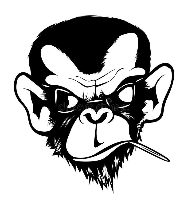 O macaco mau irritado louco Gorila do macaco do chimpanz? cobre o branco preto ilustração royalty free