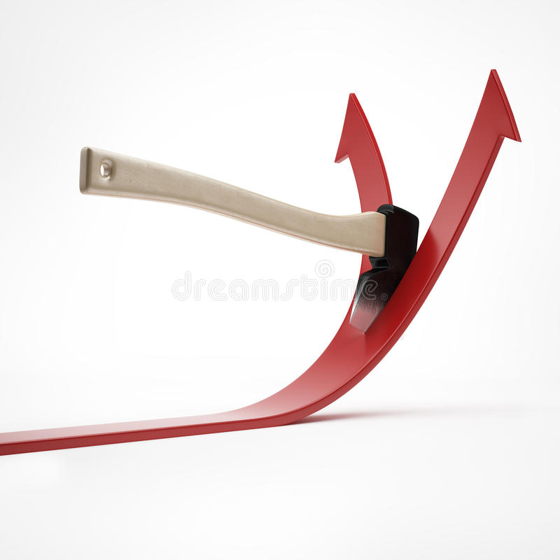 O machado corta a seta ilustração royalty free