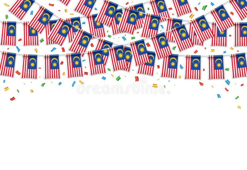O malaio embandeira o fundo branco da festão com confetes ilustração do vetor