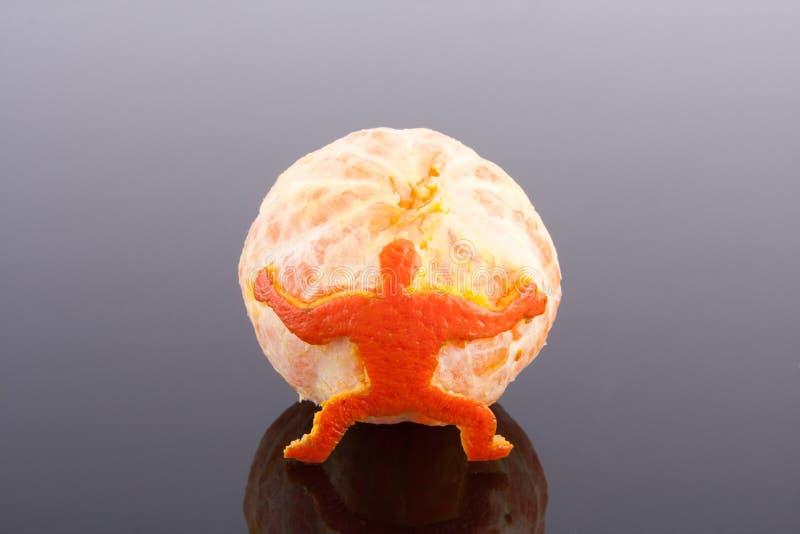 O mandarino da terra arrendada do homem imagem de stock royalty free