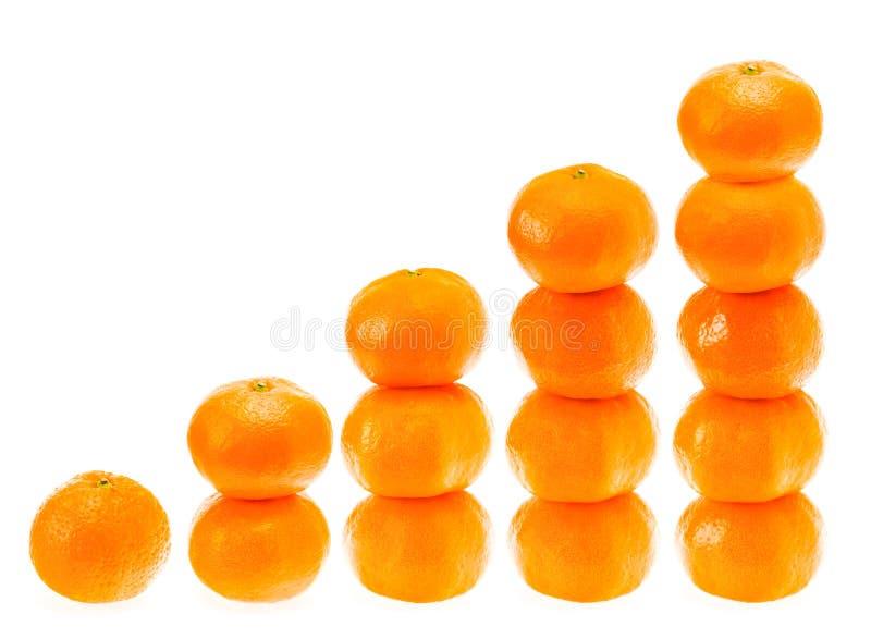 O mandarino fresco empilhado sobre imagens de stock