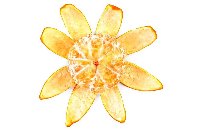 O mandarino na casca purified perto na parte superior fotos de stock