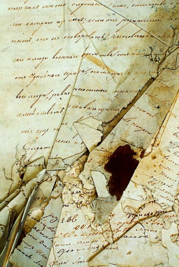 O manuscrito velho imagem de stock
