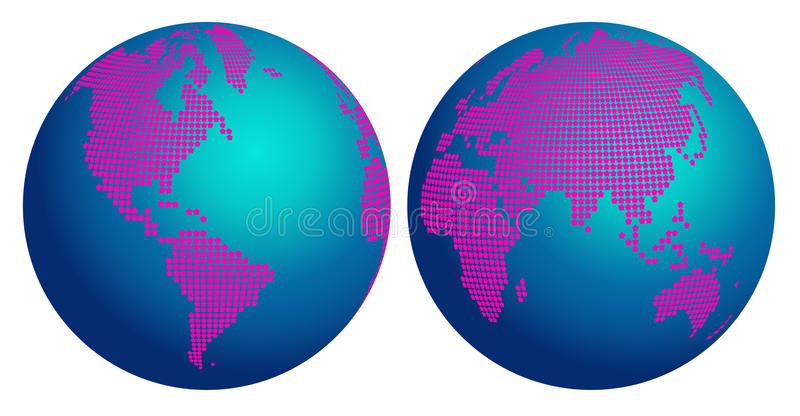 O mapa abstrato do globo do mundo com flor cor-de-rosa pontilha ilustração do vetor