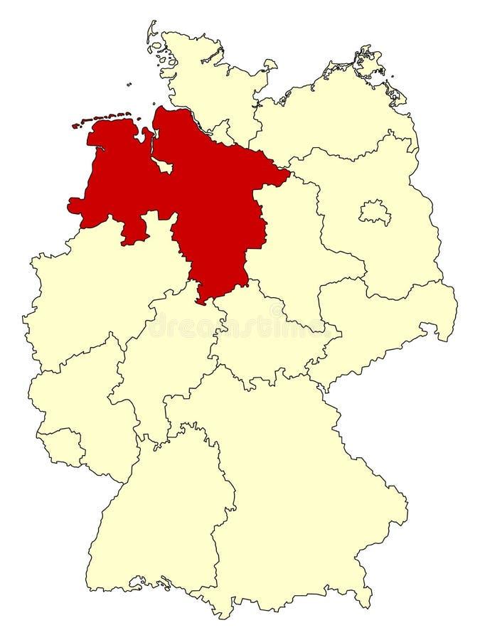O mapa amarelo de Alemanha com estado federal Baixa Saxónia isolada no vermelho ilustração stock
