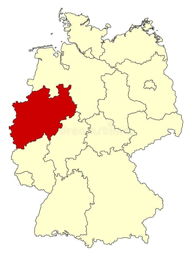 O mapa amarelo de Alemanha com estado federal Reno-Westphalia norte isolou-se no vermelho ilustração stock