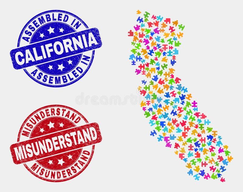 O mapa componente do estado de Califórnia e riscado montou e entende mal selos ilustração do vetor
