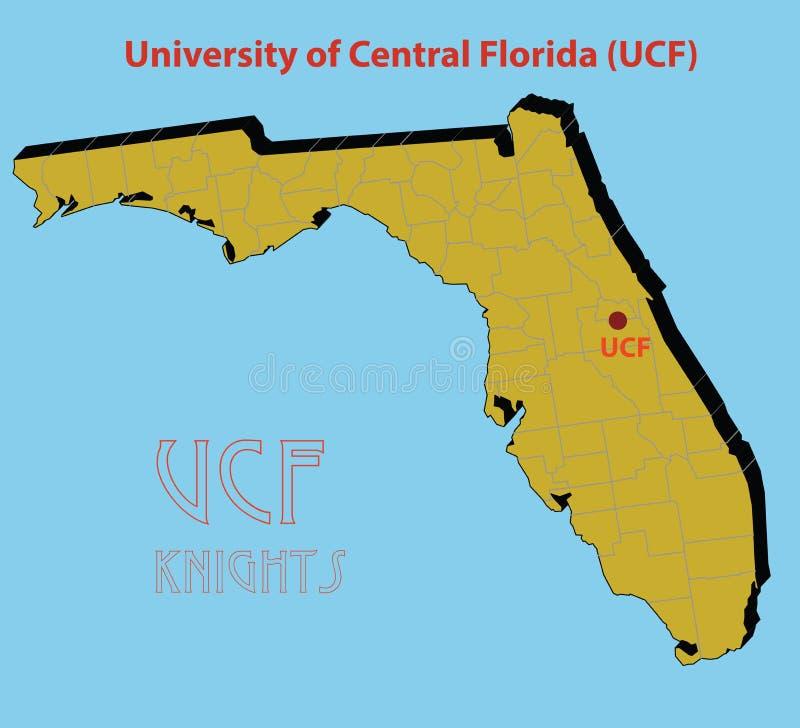 O mapa 3d da universidade de florida central ( ilustração do vetor