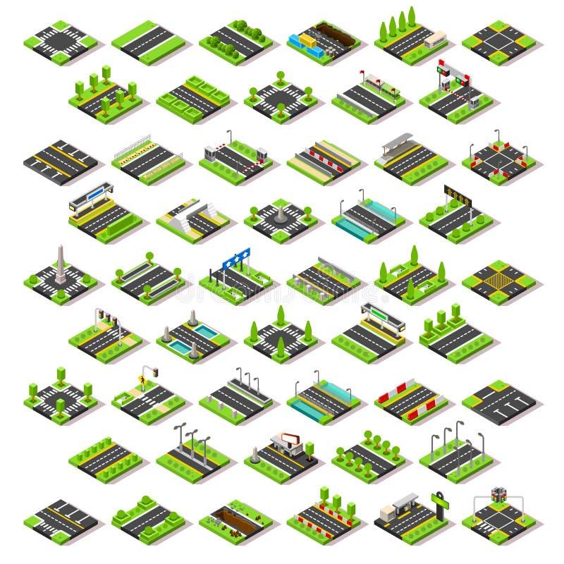 O mapa da cidade ajustou 02 telhas isométricas ilustração do vetor