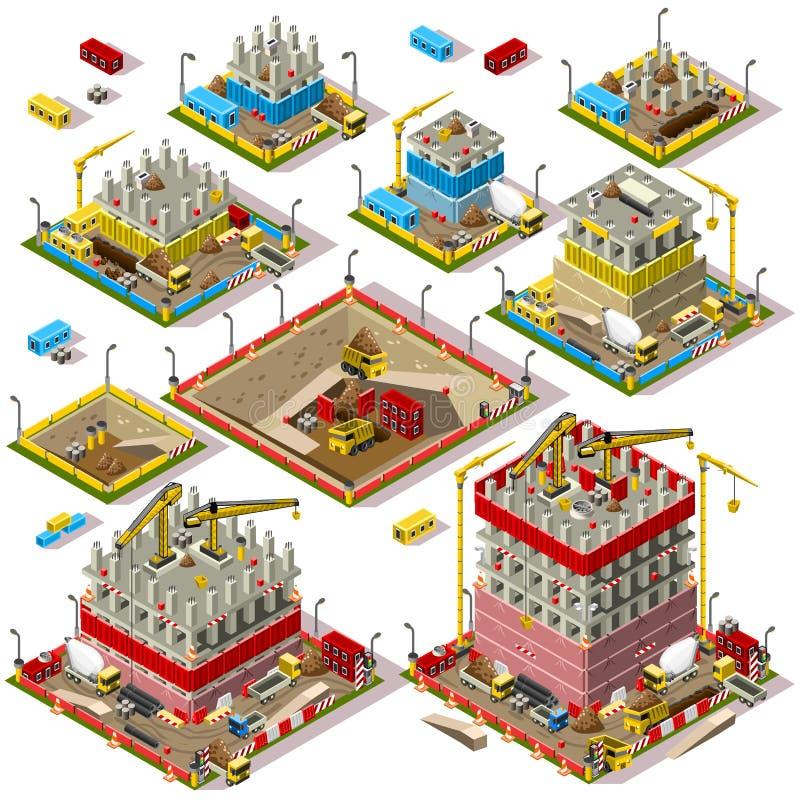 O mapa da cidade ajustou 04 telhas isométricas ilustração royalty free
