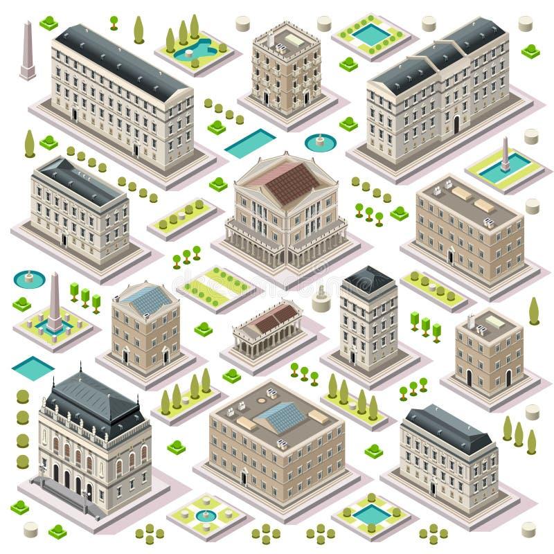 O mapa da cidade ajustou 05 telhas isométricas ilustração do vetor