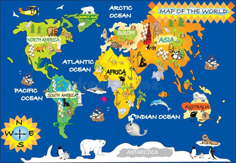 O mapa da criança do mundo ilustração royalty free