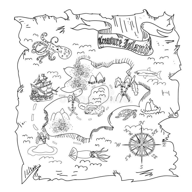 O mapa da ilha do tesouro caçoa a página da coloração ilustração royalty free
