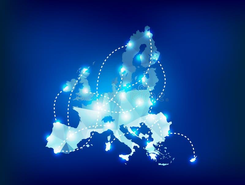 O mapa da União Europeia poligonal com ponto ilumina lugares ilustração royalty free