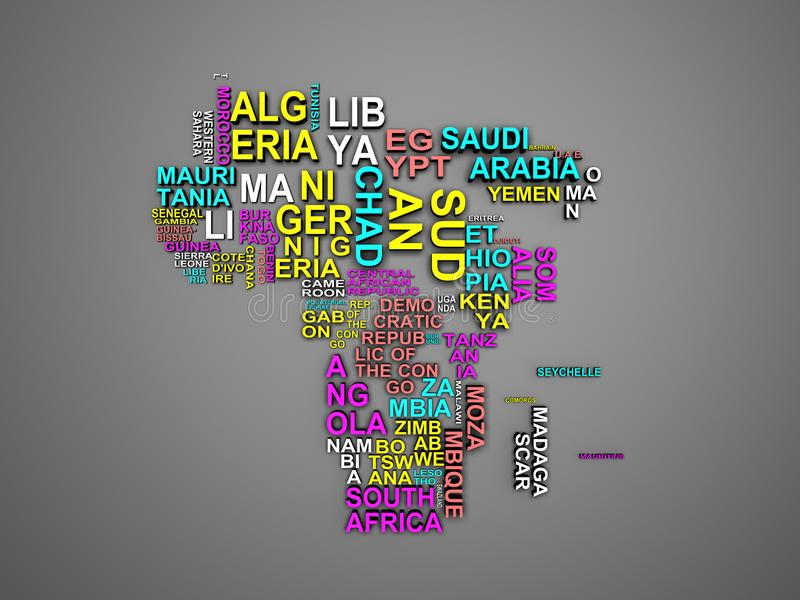 O mapa de África com todos os estados e sua ilustração o dos nomes 3d ilustração stock