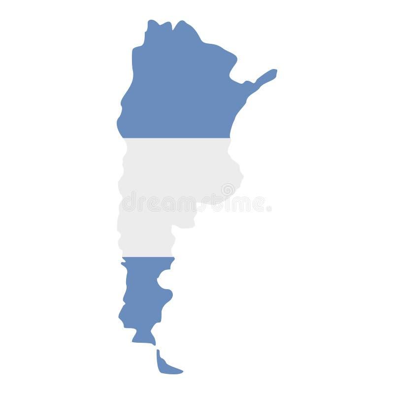 O mapa de Argentina na bandeira argentina colore o ícone ilustração stock