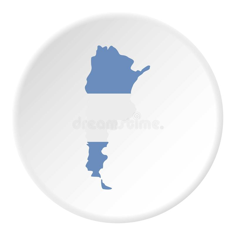 O mapa de Argentina na bandeira argentina colore o ícone ilustração do vetor
