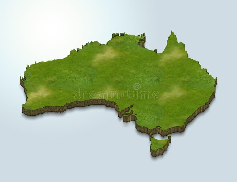 O mapa de Austrália é verde em um fundo 3d azul ilustração stock