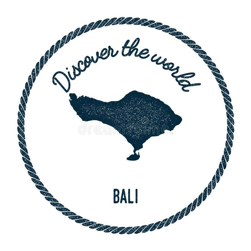 O mapa de Bali no vintage descobre as insígnias do mundo ilustração stock