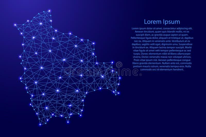 O mapa de Bolívia das linhas azuis poligonais, incandescendo stars a ilustração ilustração do vetor
