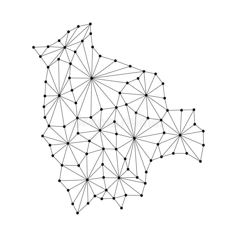 O mapa de Bolívia do mosaico poligonal alinha a rede, raios, ilustração dos pontos ilustração do vetor