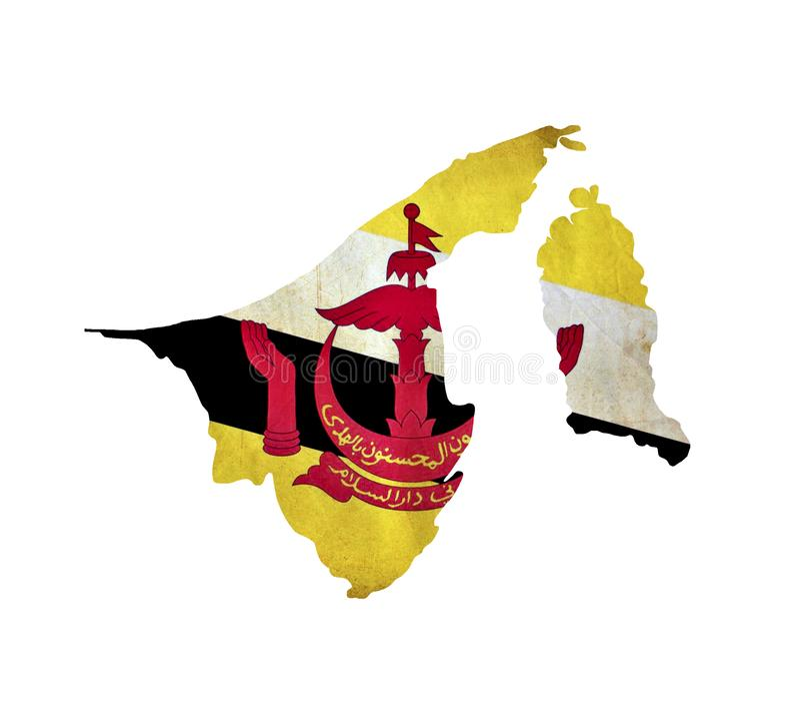 O mapa de Brunei Darussalam isolou-se imagens de stock