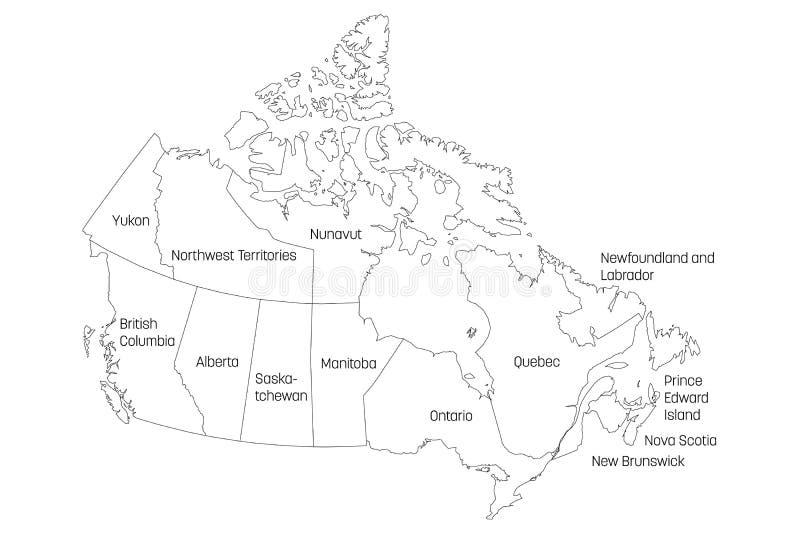O mapa de Canadá dividiu-se em 10 províncias e em 3 territórios Regiões administrativas de Canadá Mapa branco com preto ilustração do vetor