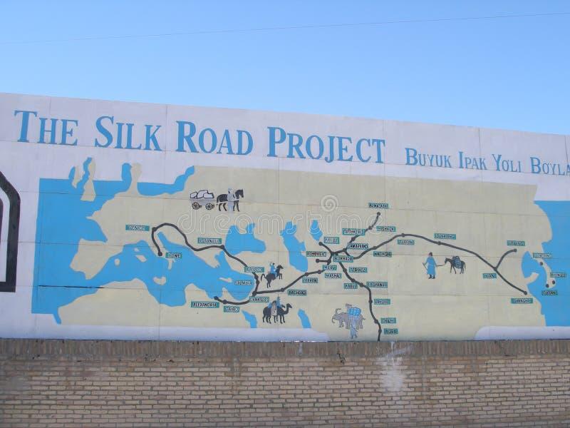 O mapa de estrada de seda imagens de stock
