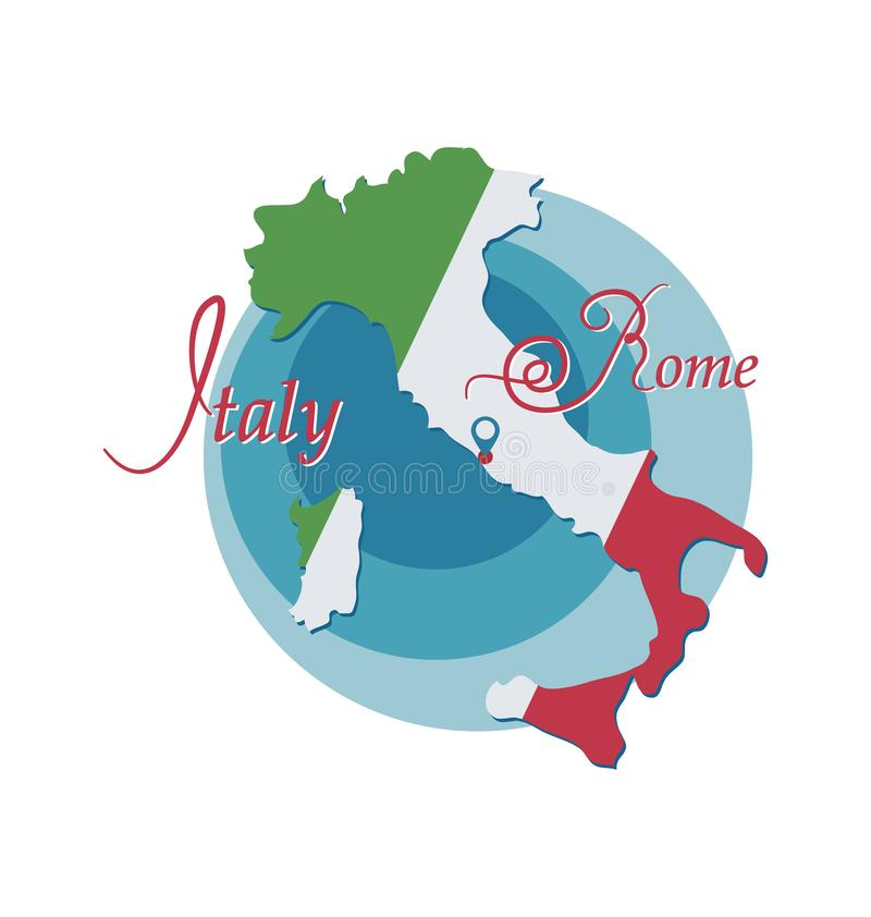 O mapa de It?lia ? pintado nas cores de uma bandeira roma emblema ilustração do vetor