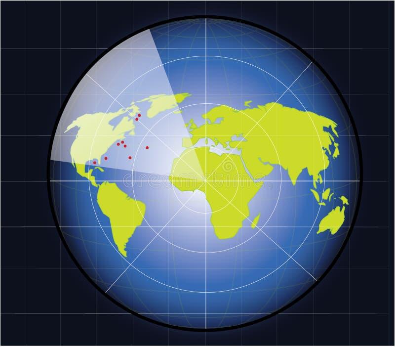 O mapa de mundo em um ecrã de radar ilustração do vetor